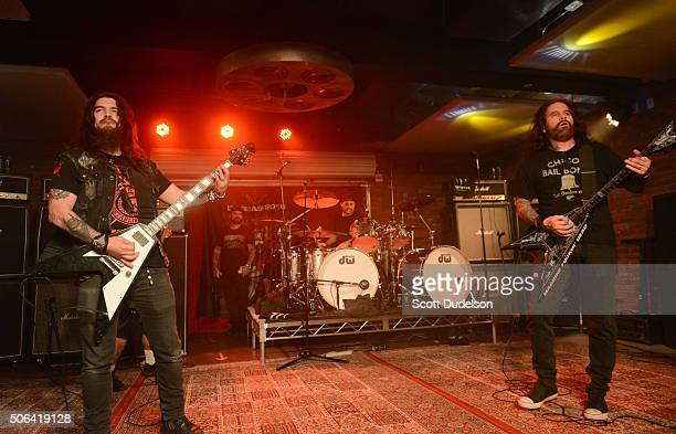 Musicians Robb Flynn Dave Lombardo and Phil Demmel of Machine Head perform onstage at Lucky Strike Live on January 22 2016 in Hollywood California