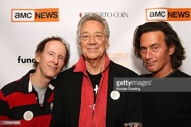 Musicians Robby Krieger and Ray Manzarek of The Doors with director Tom DiCillo visit the LIVEstyle Film Lounge Media Center on January 17 2009 in...