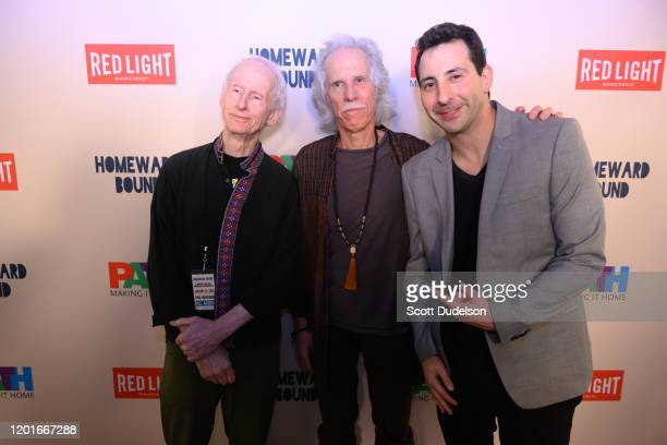 Musicians Robby Krieger John Densmore founding members of The Doors and music executive Jonathan Shank attends the Homeward Bound A Benefit for the...