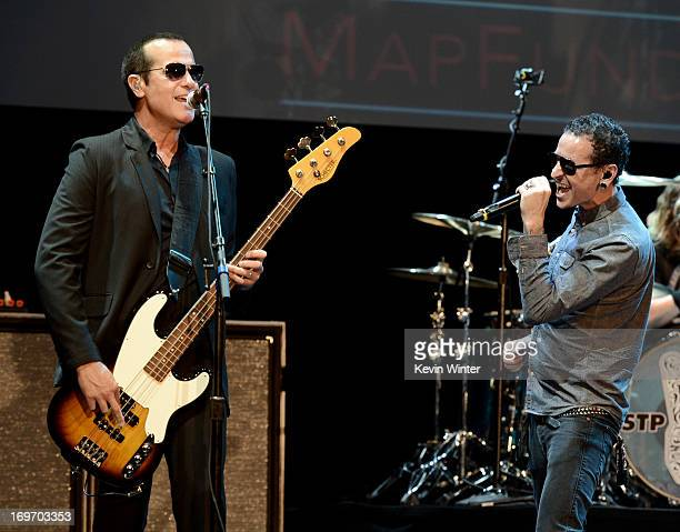 Musicians Robert DeLeo and Chester Bennington perform at the 9th Annual MusiCares MAP Fund Benefit Concert at Club Nokia on May 30 2013 in Los...
