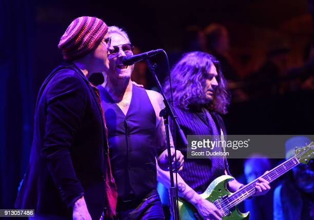 Musicians Robert DeLeo Matt Sorum and Phil X perform onstage during the Adopt the Arts annual rock gala at Avalon Hollywood on January 31 2018 in Los...