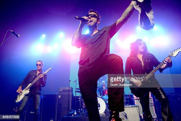 Musicians Robert DeLeo of Stone Temple Pilots Franky Perez of Apocalyptica and Kings of Chaos and Steve Stevens of the Billy Idol band performs...
