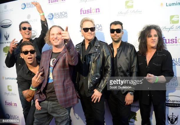 Musicians Robert DeLeo Wes Geer Corey Taylor Matt Sorum Franky Perez and Steve Stevens attend the second annual Rock for Recovery benefit concert at...