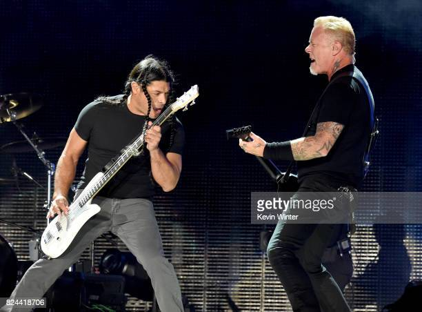 Musicians Robert Trujillo and James Hetfield of Metallica perform onstage at the Rose Bowl on July 29 2017 in Pasadena California