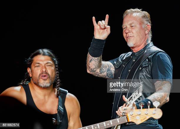 Musicians Robert Trujillo and James Hetfield of Metallica perform on stage at BC Place on August 14 2017 in Vancouver Canada