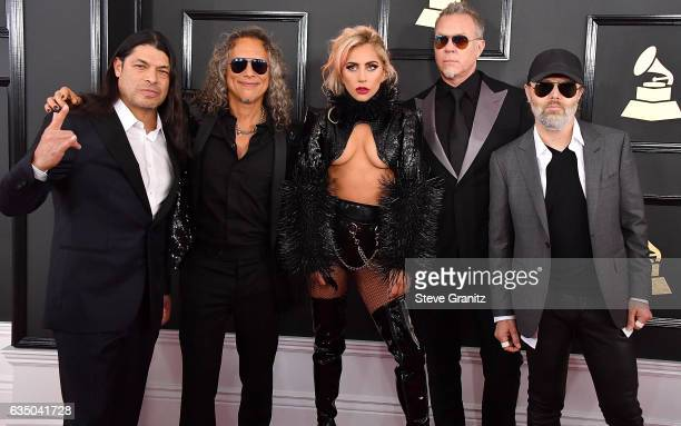 Musicians Robert Trujillo and Kirk Hammett of Metallica singer Lady Gaga and James Hetfield and Lars Ulrich of Metallica arrives at the 59th GRAMMY...