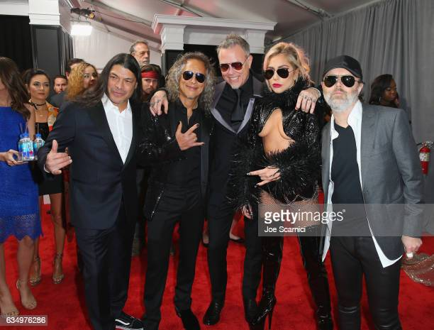 Musicians Robert Trujillo Kirk Hammett James Hetfield Lady Gaga and Lars Ulrich at The 59th Annual GRAMMY Awards at STAPLES Center on February 12...