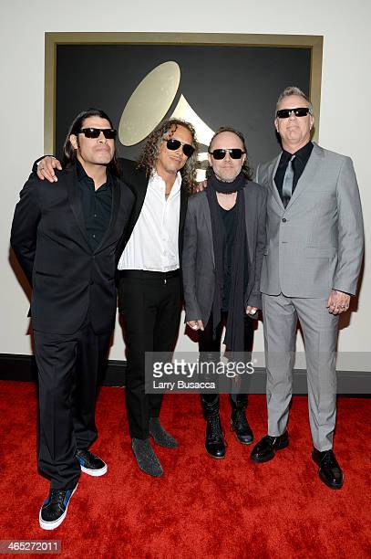 Musicians Robert Trujillo Kirk Hammett Lars Ulrich and James Hetfield of Metallica attend the 56th GRAMMY Awards at Staples Center on January 26 2014...