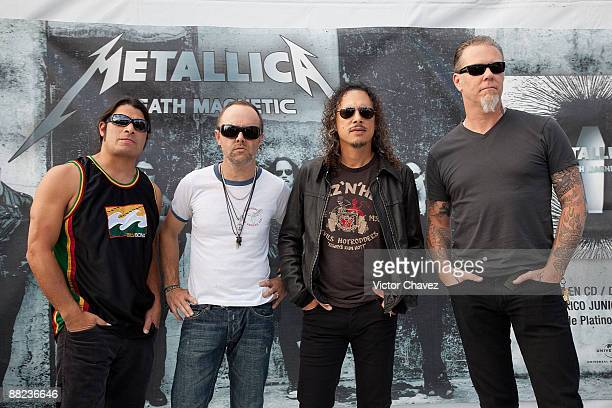 Musicians Robert Trujillo Lars Ulrich Kirk Hammett and James Hetfield of Metallica attend a press conference ahead of their concert at Foro Sol on...