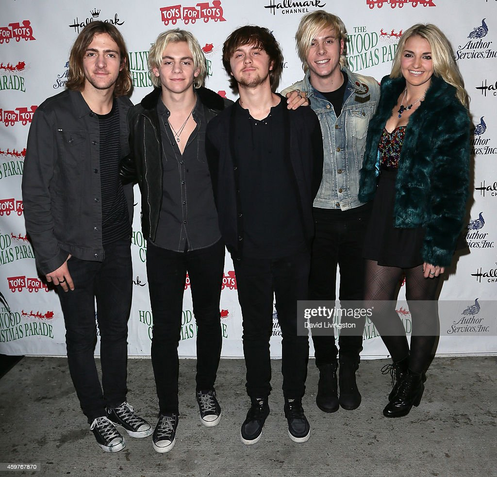 Musicians Rocky Lynch, Ross Lynch, Ellington Ratliff, Riker Lynch, and Rydel Lynch of R5 attend the 83rd Annual Hollywood Christmas Parade on November 30, 2014 in Hollywood, California.