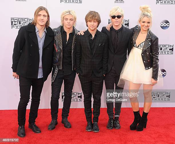 Musicians Rocky Lynch Ross Lynch Ellington Ratliff Riker Lynch and Rydel Lynch of R5 arrive at the 2014 American Music Awards at Nokia Theatre LA...
