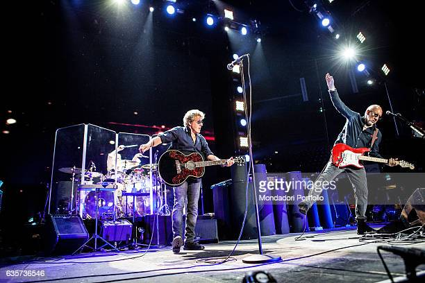 Musicians Roger Daltrey and Pete Townshend members of the rock band The Who on stage performing live in concert at the Mediolanum Forum during the...