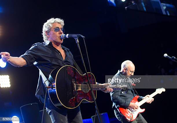 Musicians Roger Daltrey and Pete Townshend of The Who perform at Sprint Center on April 29, 2016 in Kansas City, Missouri.