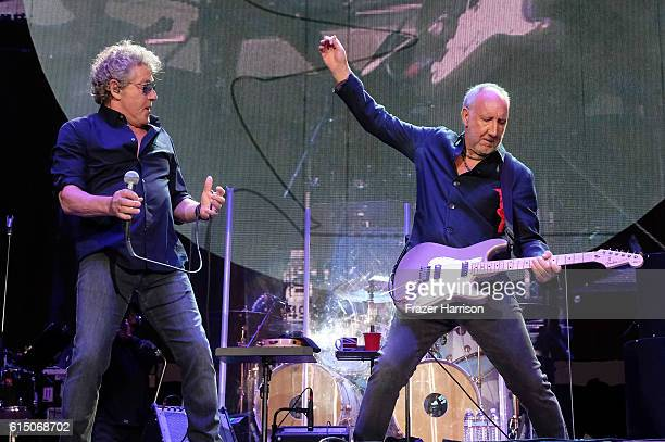 Musicians Roger Daltrey and Pete Townshend of The Who perform during Desert Trip at the Empire Polo Field on October 16, 2016 in Indio, California.