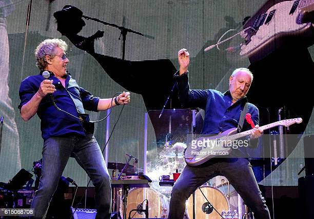 Musicians Roger Daltrey and Pete Townshend of The Who perform during Desert Trip at the Empire Polo Field on October 16 2016 in Indio California