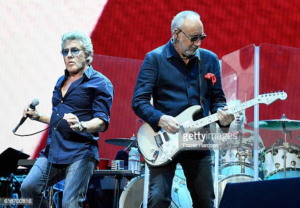 Musicians Roger Daltrey and Pete Townshend of The Who perform onstage during Desert Trip at the Empire Polo Field on October 9, 2016 in Indio,...