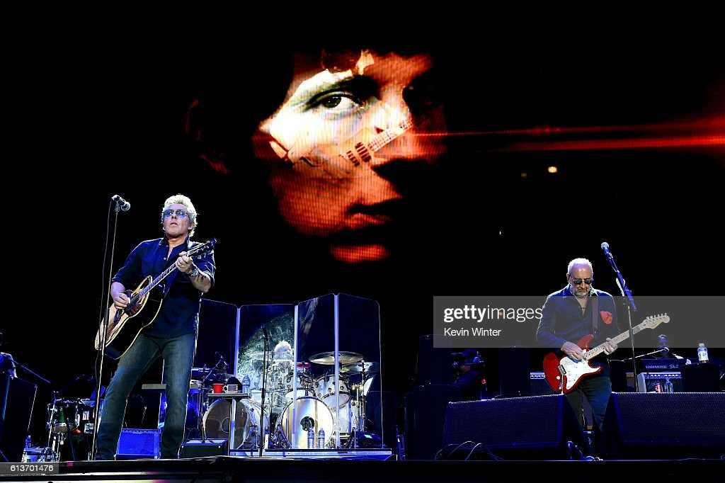 Musicians Roger Daltrey (L) and Pete Townshend of The Who perform onstage during Desert Trip at the Empire Polo Field on October 9, 2016 in Indio, California.
