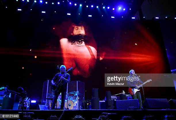 Musicians Roger Daltrey and Pete Townshend of The Who perform onstage during Desert Trip at The Empire Polo Club on October 16 2016 in Indio...