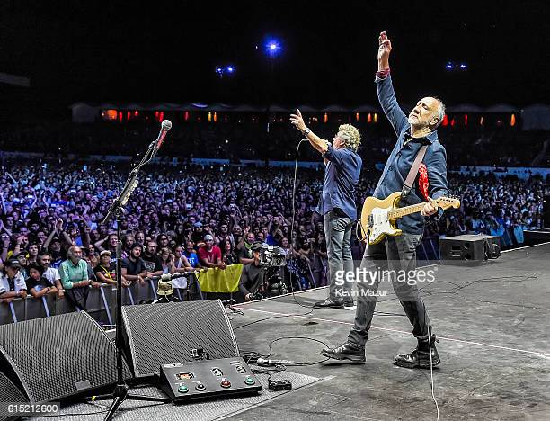 Musicians Roger Daltrey and Pete Townshend of The Who perform onstage during Desert Trip at The Empire Polo Club on October 16, 2016 in Indio,...