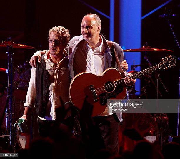 Musicians Roger Daltrey and Pete Townshend of 'The Who' perform onstage during the 3rd Annual VH1 Rock Honors at UCLA's Pauley Pavillion on July 12...