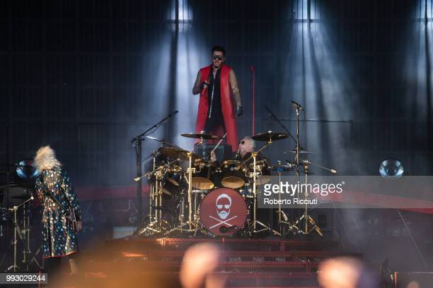 Musicians Roger Taylor and Brian May of Queen and Adam Lambert perform on stage during TRNSMT Festival Day 4 at Glasgow Green on July 6 2018 in...
