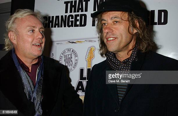Musicians Roger Taylor and Sir Bob Geldof arrive at the Premiere screening of the new fourdisc DVD featuring 10 hours of footage from the historic...