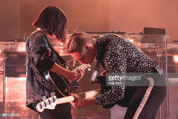 Musicians Romy Madley Croft and Oliver Sim of The xx perform onstage during weekend two day one of Austin City Limits Music Festival at Zilker Park...