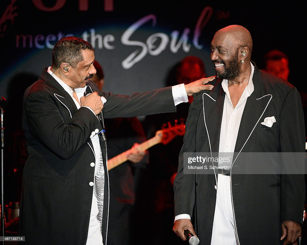 Musicians Ron Tyson (L) and Otis Williams perform during The Temptations appearance at The Canyon Club on March 20, 2015 in Agoura Hills, California.