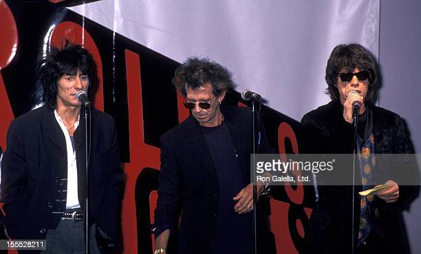 Musicians Ron Wood Keith Richards and Mick Jagger attend the press conference for Rolling Stones Voodoo Lounge Tour on May 3 1994 at Pier 60 in New...