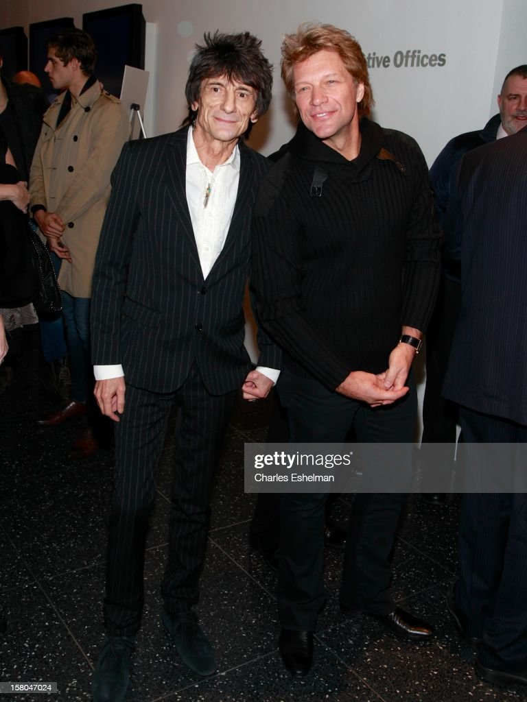 Musicians Ronnie Wood and Jon Bon Jovi attend The Cinema Society With Chrysler & Bally Host The Premiere Of 'Stand Up Guys' at The Museum of Modern Art on December 9, 2012 in New York City.