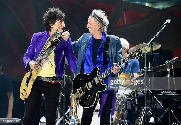 Musicians Ronnie Wood and Keith Richards of The Rolling Stones perform to a sold out crowd during the kick off concert of their 15city North American...