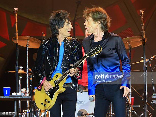 Musicians Ronnie Wood and Mick Jagger of The Rolling Stones perform during The Rolling Stones North American 'ZIP CODE' Tour at Arrowhead Stadium on...