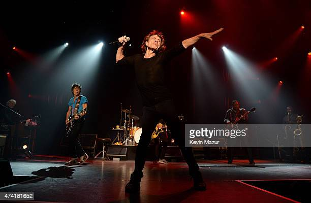 Musicians Ronnie Wood and Mick Jagger perform onstage during The Rolling Stones Los Angeles Club Show at The Fonda Theatre on May 20 2015 in Los...