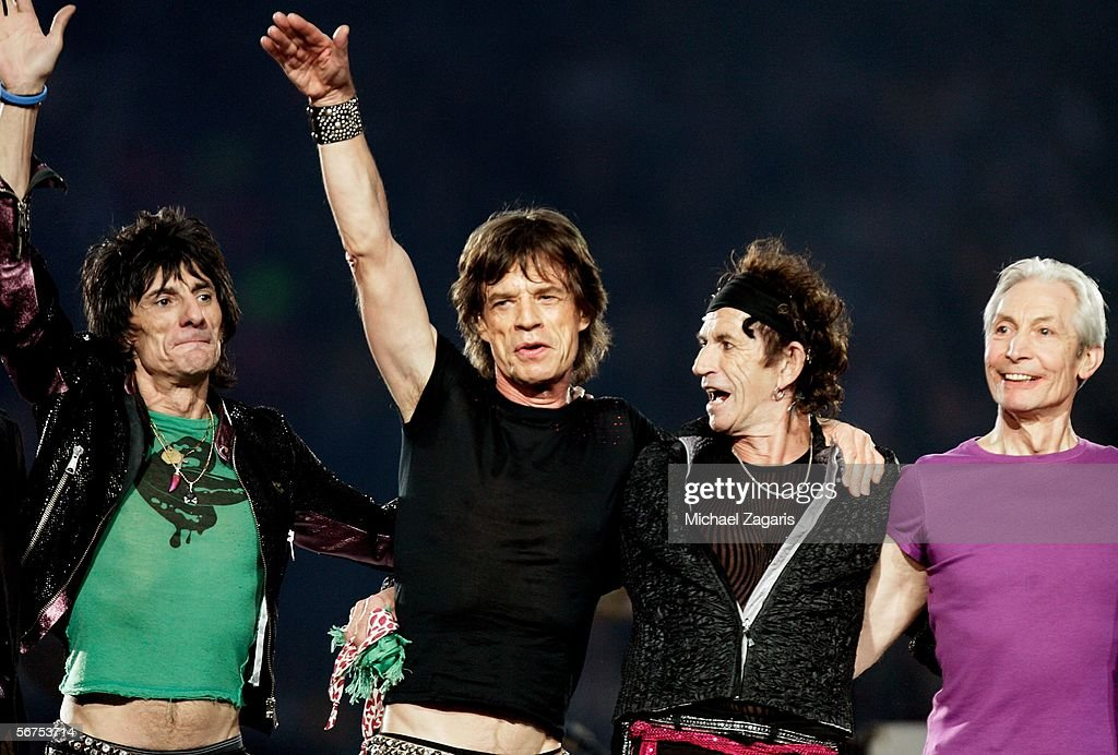 Musicians Ronnie Wood, Mick Jagger, Keith Richards and Charlie Watts of The Rolling Stones perform during the 'Sprint Super Bowl XL Halftime Show' at Super Bowl XL between the Seattle Seahawks and the Pittsburgh Steelers at Ford Field on February 5, 2006 in Detroit, Michigan.
