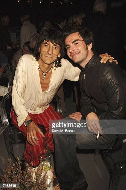 Musicians Ronnie Wood of The Rolling Stones and Kelly Jones of Stereophonics attend the Rolling Stones after show party at Wood's Home on August 20...