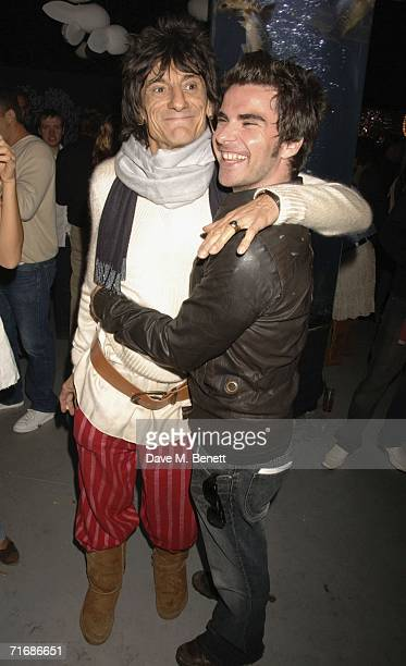 Musicians Ronnie Woods of The Rolling Stones and Kelly Jones of Stereophonics attend the Rolling Stones after show party at Wood's home on August 20...