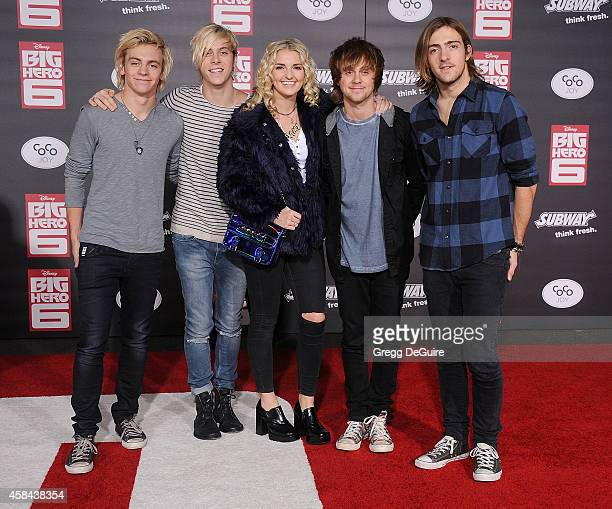 Musicians Ross Lynch Riker Lynch Rydel Lynch Ellington Ratliff and Rocky Lynch of R5 arrive at the Los Angeles premiere of Disney's 'Big Hero 6' at...