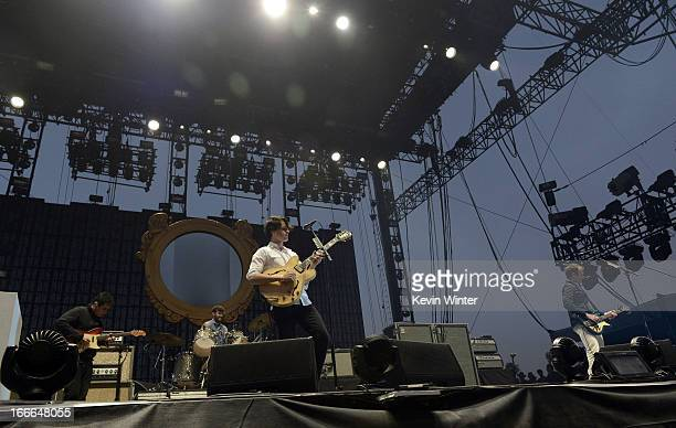 Musicians Rostam Batmanglij Chris Tomson Ezra Koenig and Chris Baio of the band Vampire Weekend perform onstage during day 3 of the 2013 Coachella...