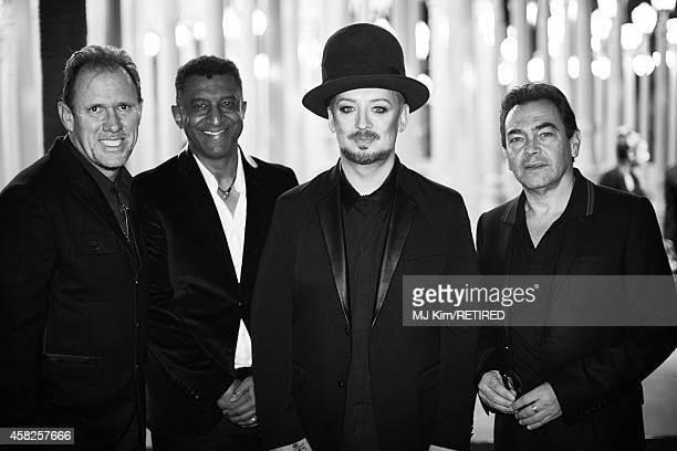 Musicians Roy Hay Mikey Craig Boy George and Jon Moss of Culture Club are photographed at the 2014 LACMA Art Film Gala Honoring Barbara Kruger And...