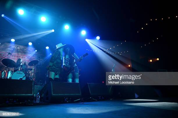 Musicians Ruby Stewart and Alyssa Bonagura of The Sisterhood perform for the Budweiser Barn during the 2018 SXSW Conference and Festivals at Fair...