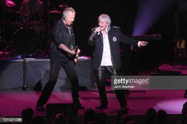 Musicians Russell Hitchcock and Graham Russell of Air Supply are shown performing live in concert on May 31 2008