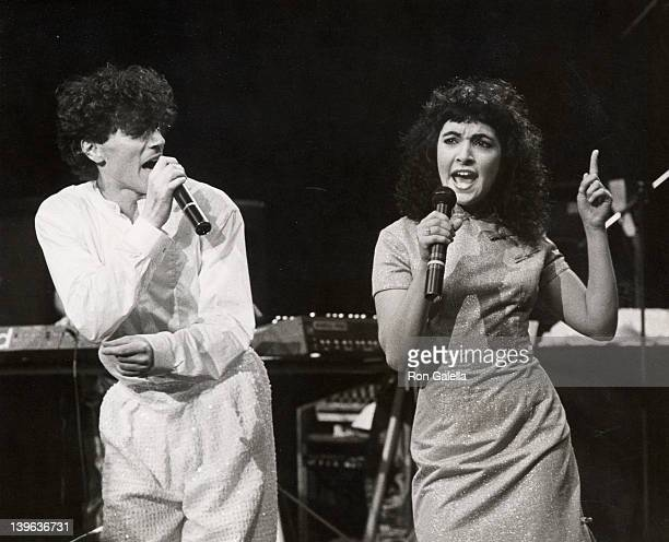 """Musicians Russell Mael and Jane Weidlin attend the taping of """"Rock N Roll Tonight"""" on March 29, 1983 at Perkins Place in Pasadena, California."""