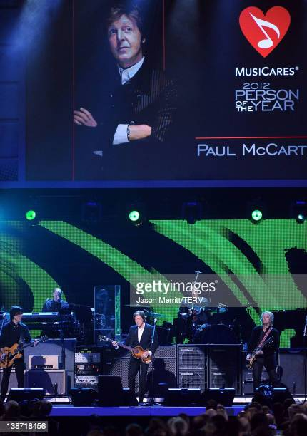 Musicians Rusty Anderson, Paul Wickens, Honoree Sir Paul McCartney, Abe Laboriel Jr, and Brian Ray perform onstage at the 2012 MusiCares Person of...