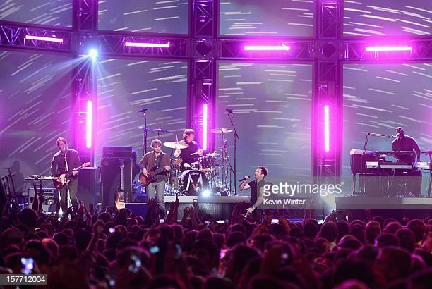 Musicians Ryan Dusick Mickey Madden Matt Flynn Adam Levine PJ Morton and James Valentine of Maroon 5 perform onstage at The GRAMMY Nominations...