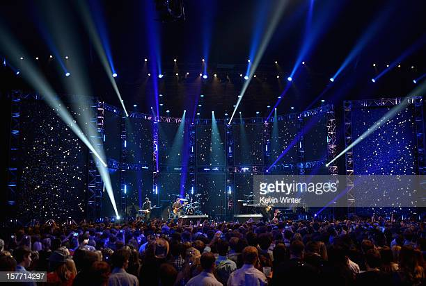Musicians Ryan Dusick Mickey Madden Matt Flynn Adam Levine PJ Morton and James Valentine of Maroon 5 perform onstage at The GRAMMY Nominations...