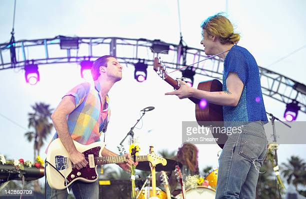 Musicians Ryan McGinley and Christopher Owens of the band Girls perform during Day 1 of the 2012 Coachella Valley Music Arts Festival held at the...