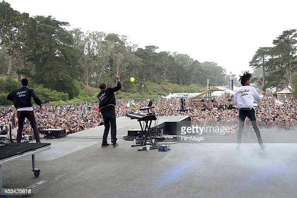 Musicians Ryan Merchant, Sebu Simonian and Spencer Ludwig of the band Capital Cities perform at the Twin Peaks Stage during day 2 of the 2014 Outside...