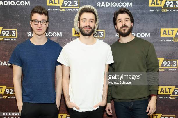 Musicians Ryan Met Jack Met and Adam Met of AJR pose backstage at Not So Silent Night presented by Radiocom at Barclays Center on December 6 2018 in...