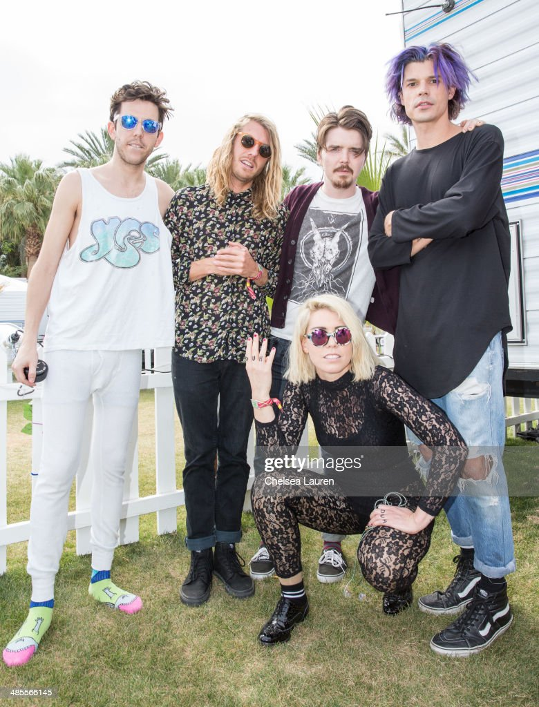 Musicians Ryan Rabin, Andrew Wessen, Sean Gadd, Hannah Hooper and Christian Zucconi of Grouplove pose backstage during the 2014 Coachella Valley music and arts festival at The Empire Polo Club on April 18, 2014 in Indio, California.
