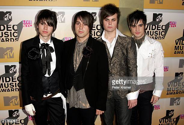 Musicians Ryan Ross Jon Walker Spencer Smith and Brendon Urie of Panic at the Disco attend the 2006 MTV Video Music Awards at Radio City Music Hall...